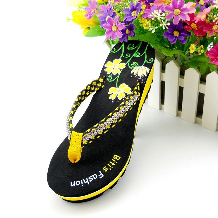 黄色坡跟鞋 包邮正品越南鞋平仙拖鞋女人字拖坡跟休闲防滑旅游沙滩鞋黄色女鞋_推荐淘宝好看的黄色坡跟鞋