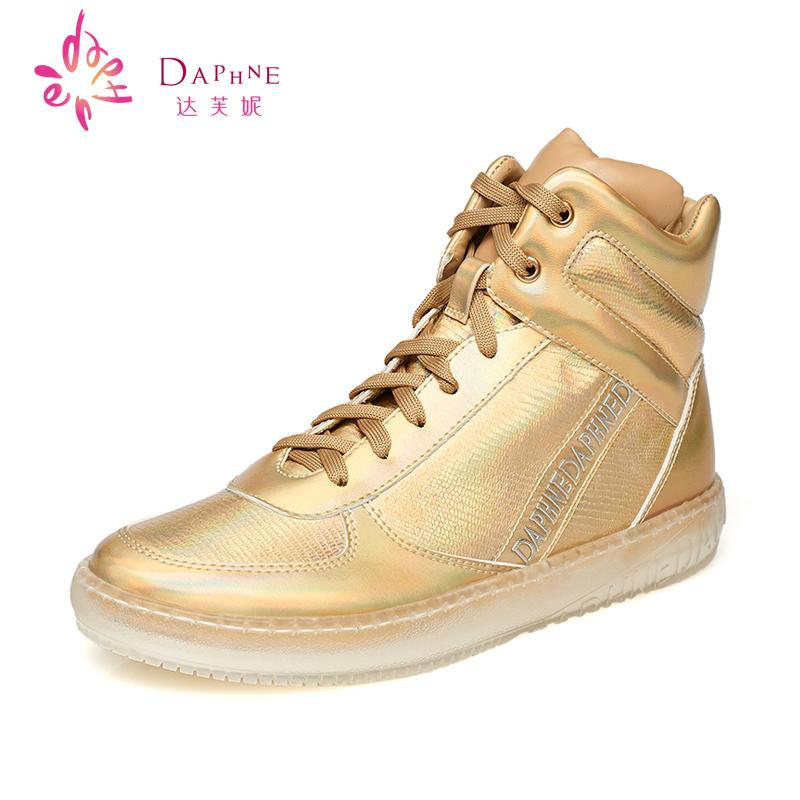 达芙妮高帮鞋 Daphne达芙妮女鞋 冬季内增高女靴 系带短靴休闲高帮鞋_推荐淘宝好看的达芙妮高帮鞋