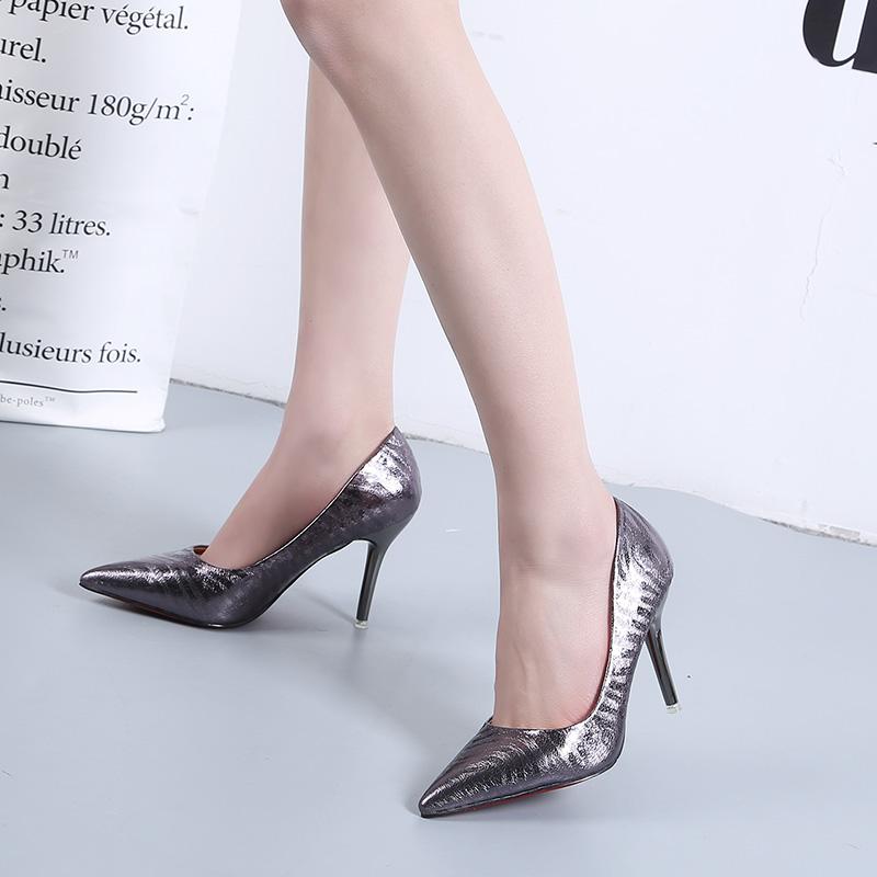 黑色高跟鞋 职业单鞋女真皮2017新款工作鞋尖头细跟套脚浅口鞋子黑色高跟皮鞋_推荐淘宝好看的黑色高跟鞋