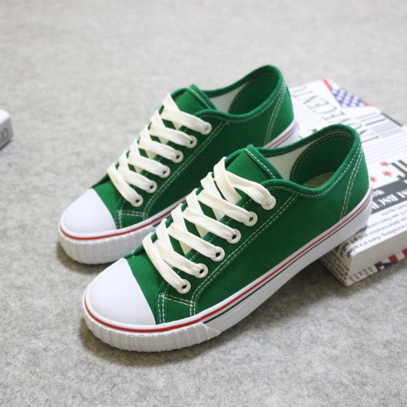 绿色帆布鞋 夏季低帮经典绿色帆布鞋女百搭糖果色纯色休闲平底鞋系带学生球鞋_推荐淘宝好看的绿色帆布鞋