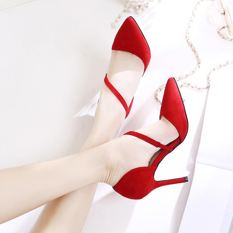 黑色尖头鞋 潮2016新款红色尖头女高跟鞋细跟黑色单鞋春秋鞋子真皮婚鞋 32 33_推荐淘宝好看的黑色尖头鞋