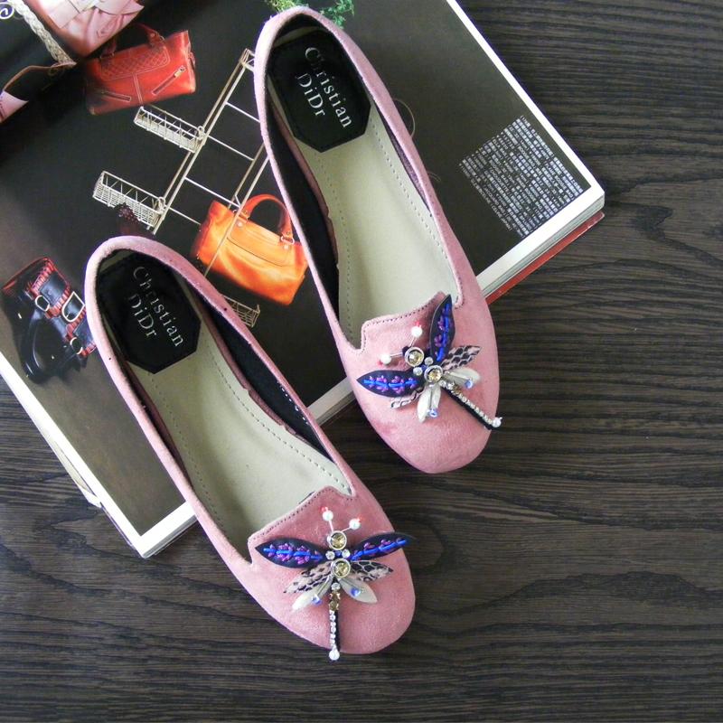 粉红色单鞋 娇媚女人味 时尚优雅粉红深蓝色柔软卡通平底单鞋百搭平跟女鞋_推荐淘宝好看的粉红色单鞋