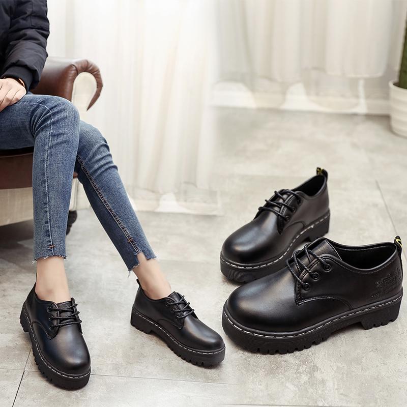 黑色松糕鞋 英伦复古黑色小皮鞋女厚底圆头学院风学生单鞋加绒松糕底女鞋韩版_推荐淘宝好看的黑色松糕鞋