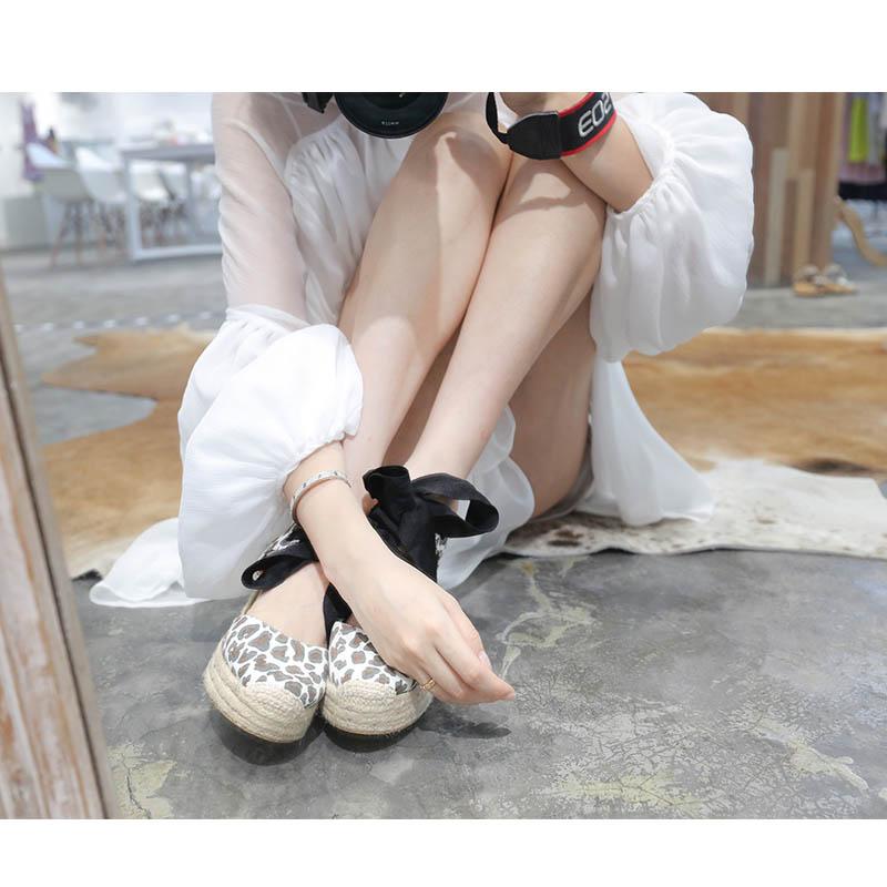 夏季豹纹坡跟鞋 凉鞋女豹纹草编织绑带坡跟高跟防水台包头丝带系带蝴蝶结渔夫鞋夏_推荐淘宝好看的女夏豹纹坡跟鞋
