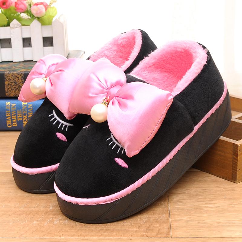 高跟厚底鞋 冬季棉拖鞋女珍珠高跟保暖厚底防水棉鞋加厚室外包跟棉鞋_推荐淘宝好看的女高跟厚底鞋