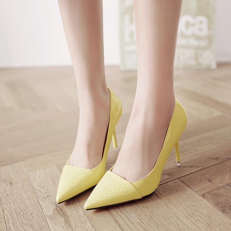 黄色单鞋 2016春秋季新款高跟鞋细跟中跟浅口单鞋韩版性感显瘦百搭黄色女鞋_推荐淘宝好看的黄色单鞋