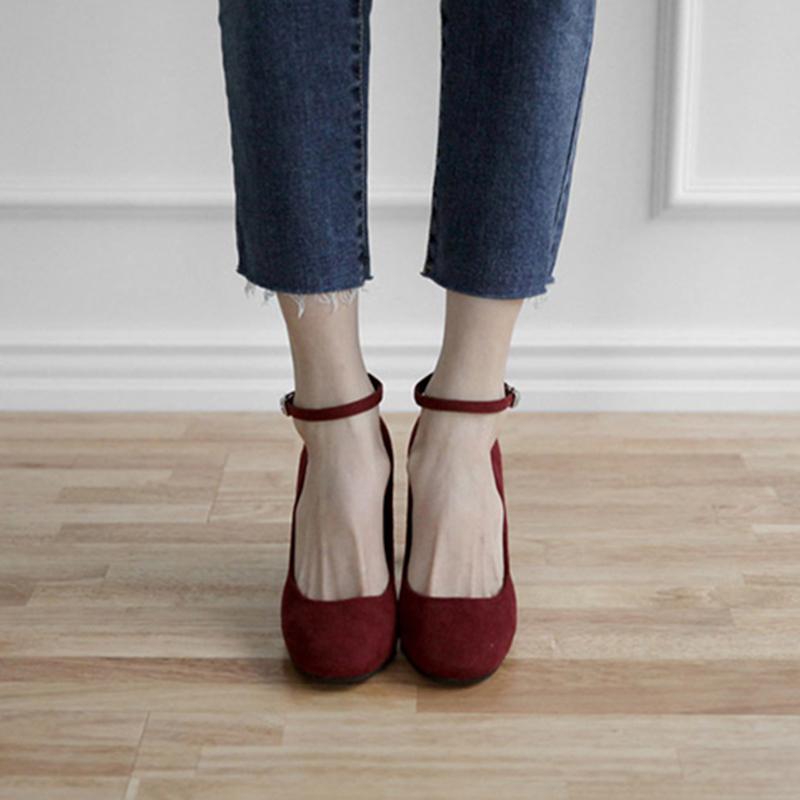 红色单鞋 2016新款圆头粗跟绒面单鞋中跟一字扣带红色高跟鞋秋冬女鞋子韩版_推荐淘宝好看的红色单鞋