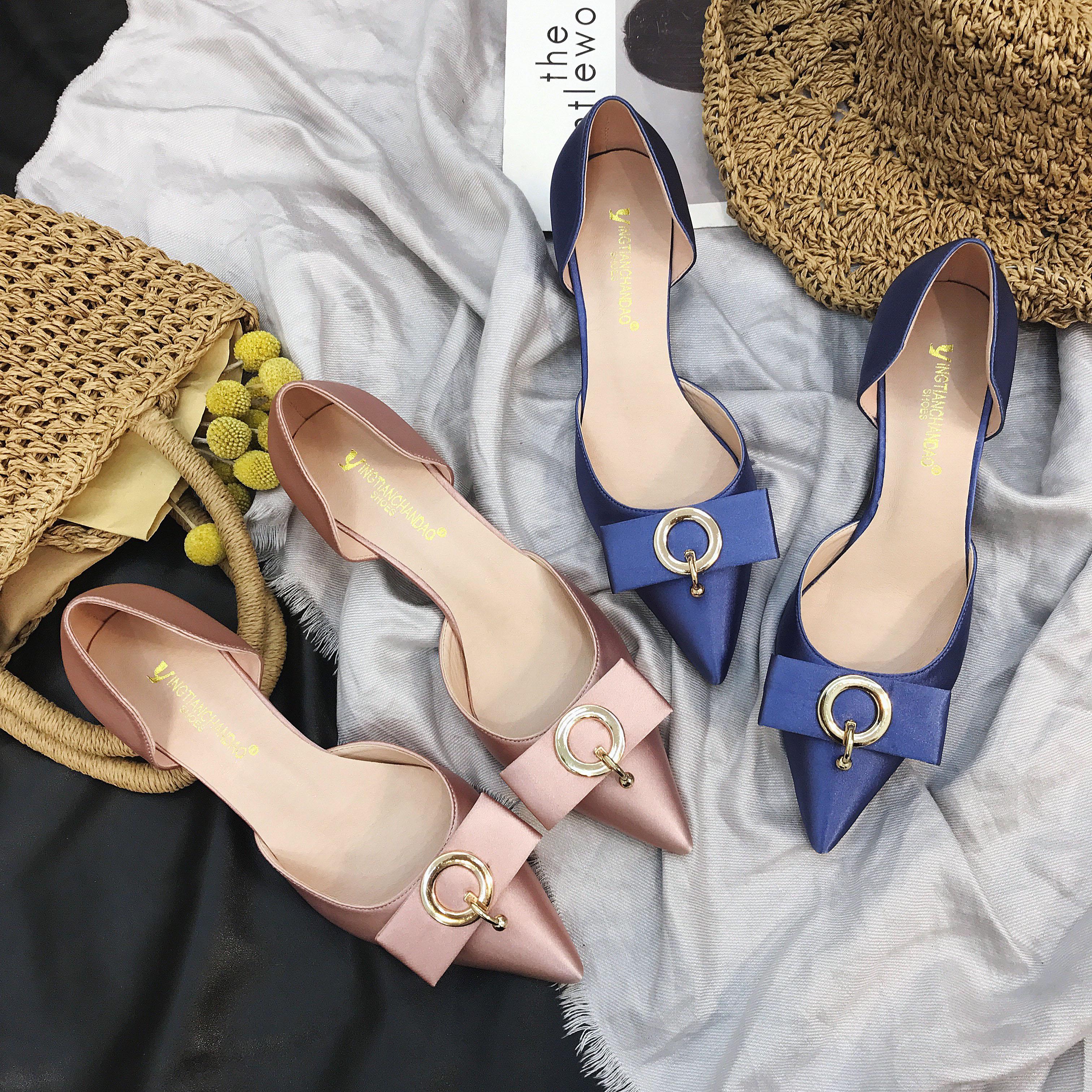 时尚高跟凉鞋 夏季尖头粗跟包头凉鞋2017新款绸缎中跟女鞋甜美百搭时尚高跟鞋女_推荐淘宝好看的女时尚高跟凉鞋