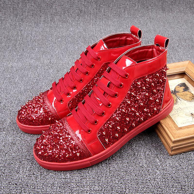 红色高帮鞋 欧洲站铆钉高帮休闲鞋男板鞋潮流个性马丁靴红色亮片单鞋个性男鞋_推荐淘宝好看的红色高帮鞋