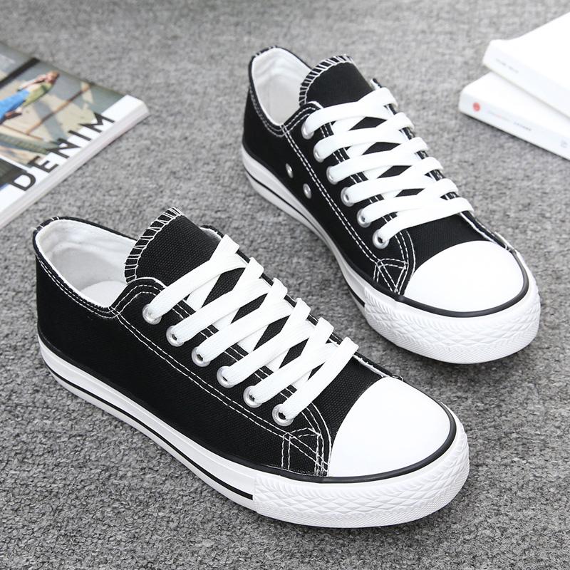 黑色帆布鞋 夏季黑色低帮帆布鞋女韩版潮休闲鞋平跟系带布鞋学生平底球鞋板鞋_推荐淘宝好看的黑色帆布鞋