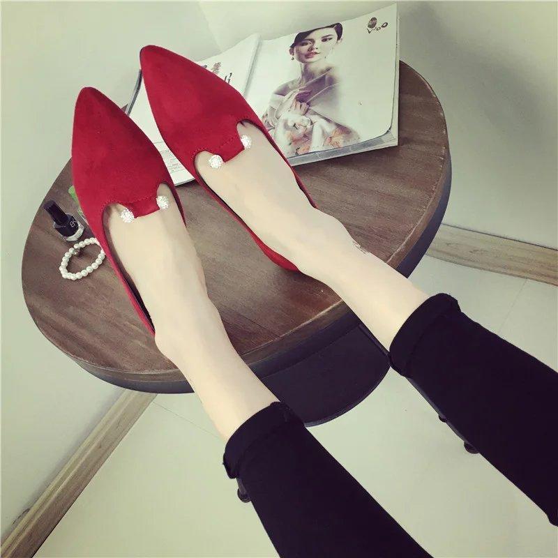 红色尖头鞋 2017韩版新款春季一脚蹬水钻单鞋子红色平底平跟浅口婚鞋尖头女鞋_推荐淘宝好看的红色尖头鞋