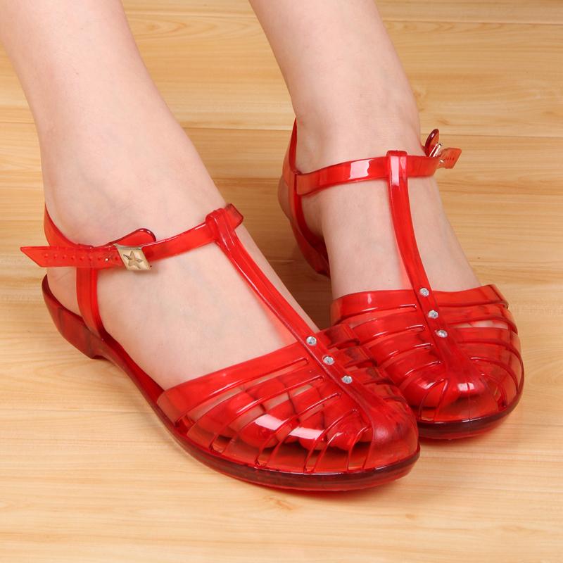 镂空罗马鞋 夏季新款时尚平跟果冻复古镂空罗马塑料女凉鞋水晶丁字扣凉鞋 907_推荐淘宝好看的镂空罗马鞋