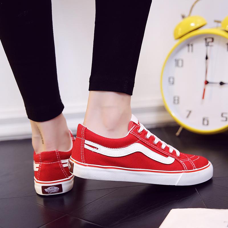 红色帆布鞋 红色帆布鞋女街拍百搭板鞋学生韩版2017夏季新款原宿ulzzang女鞋_推荐淘宝好看的红色帆布鞋