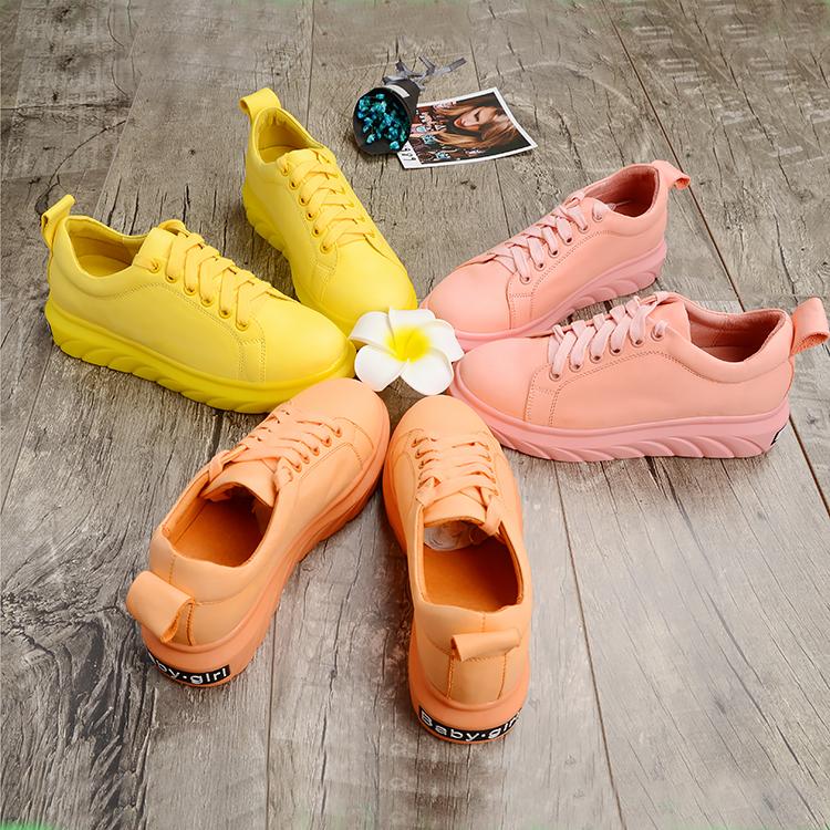 黄色厚底鞋 粉色运动鞋女夏季新款内增高百搭韩版厚底网眼小白鞋黄色babygirl_推荐淘宝好看的黄色厚底鞋