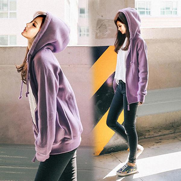 紫色卫衣 2016秋冬装新款拉链加绒卫衣女连帽开衫学生宽松百搭上衣运动外套_推荐淘宝好看的紫色卫衣