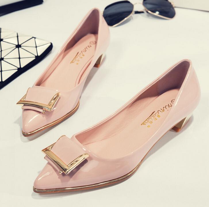 粉红色尖头鞋 包邮优雅日常橡胶春季新品女鞋浅口粗跟韩版尖头单鞋粉红色_推荐淘宝好看的粉红色尖头鞋