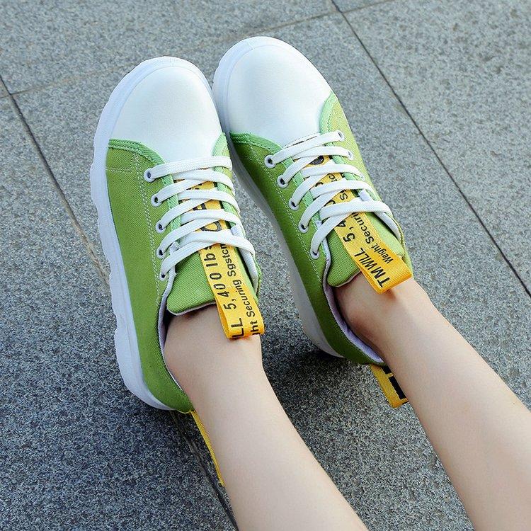 绿色松糕鞋 草绿色女鞋2017春秋季新款松糕厚底系带韩版小白鞋女百搭平底单鞋_推荐淘宝好看的绿色松糕鞋