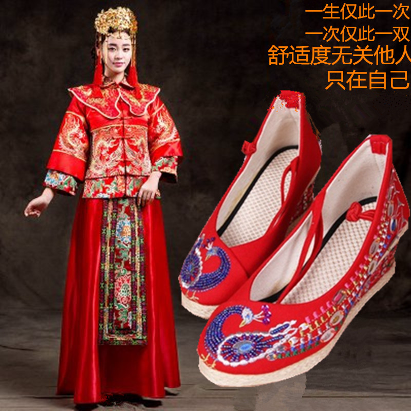 红色坡跟鞋 手工新款老北京女布鞋坡跟系带绣花鞋中式红色婚鞋新娘鞋秀禾服鞋_推荐淘宝好看的红色坡跟鞋