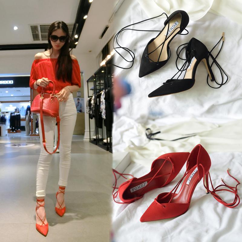 红色凉鞋 夏季性感绑带女凉鞋尖头细跟红色女鞋黑色交叉单鞋中跟真皮高跟鞋_推荐淘宝好看的红色凉鞋