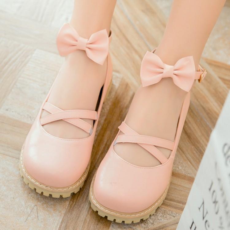 粉红色单鞋 交叉绑带平底圆头黑粉红色cos洛丽塔lolita单鞋女皮鞋蝴蝶结大码_推荐淘宝好看的粉红色单鞋