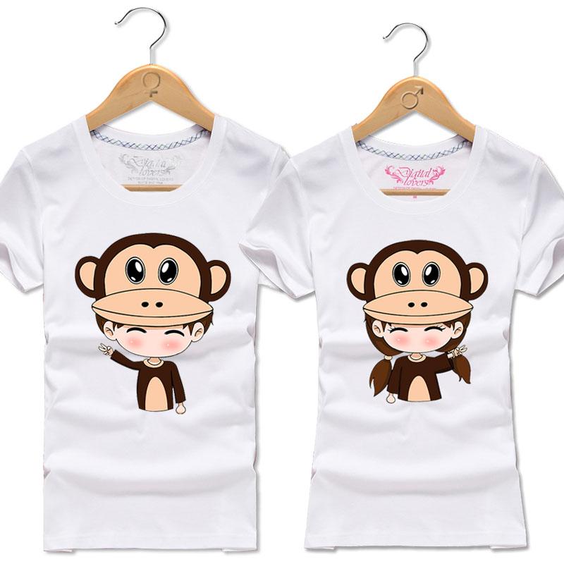 新款大嘴猴t恤 2017新款情侣装短袖t恤男女纯棉大码200斤胖MM半袖大嘴咖啡猴上衣_推荐淘宝好看的女新款大嘴猴t恤