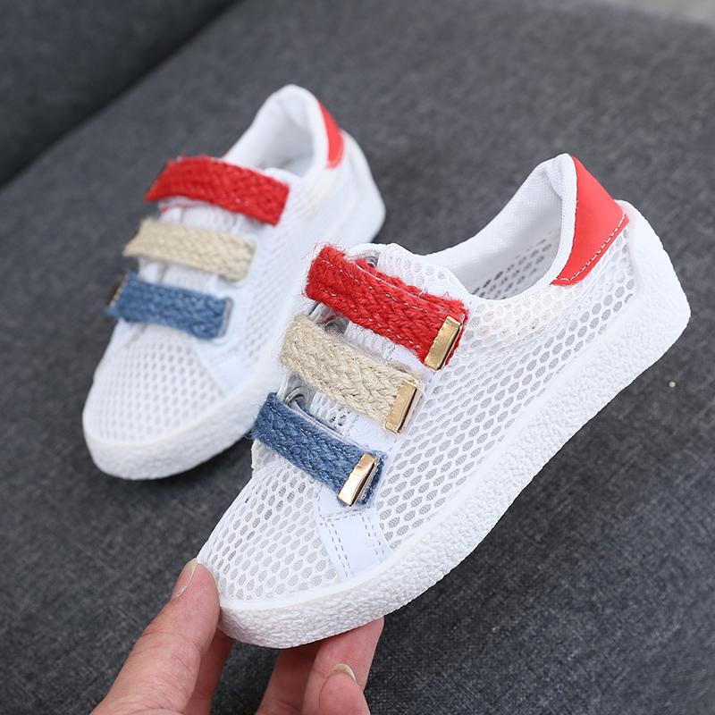 白色运动鞋 男童网鞋2017新款韩版夏季网面儿童白色板鞋透气女童运动鞋小学生_推荐淘宝好看的白色运动鞋