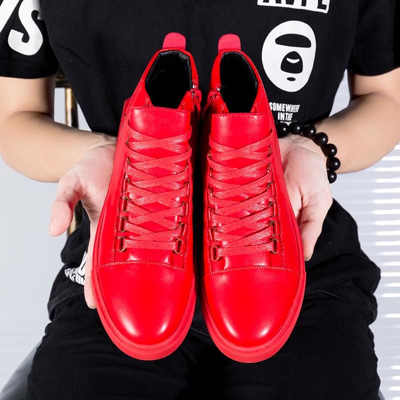 红色高帮鞋 男士韩式高帮鞋大红色高筒皮鞋发型师夜店酒吧高腰靴子GZ中邦男鞋_推荐淘宝好看的红色高帮鞋