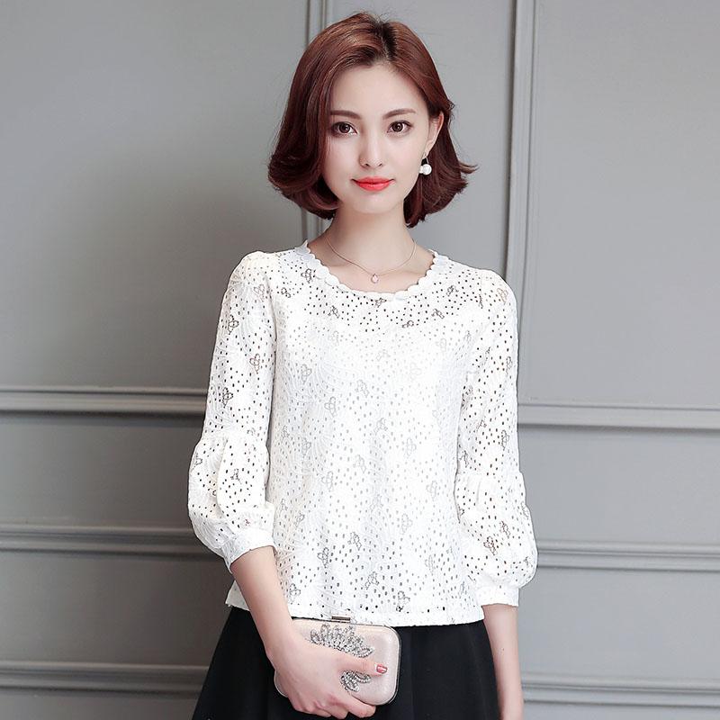白色雪纺衫 2016春秋新款蕾丝衫打底小衫七分灯笼袖镂空白色夏装雪纺上衣短款_推荐淘宝好看的白色雪纺衫