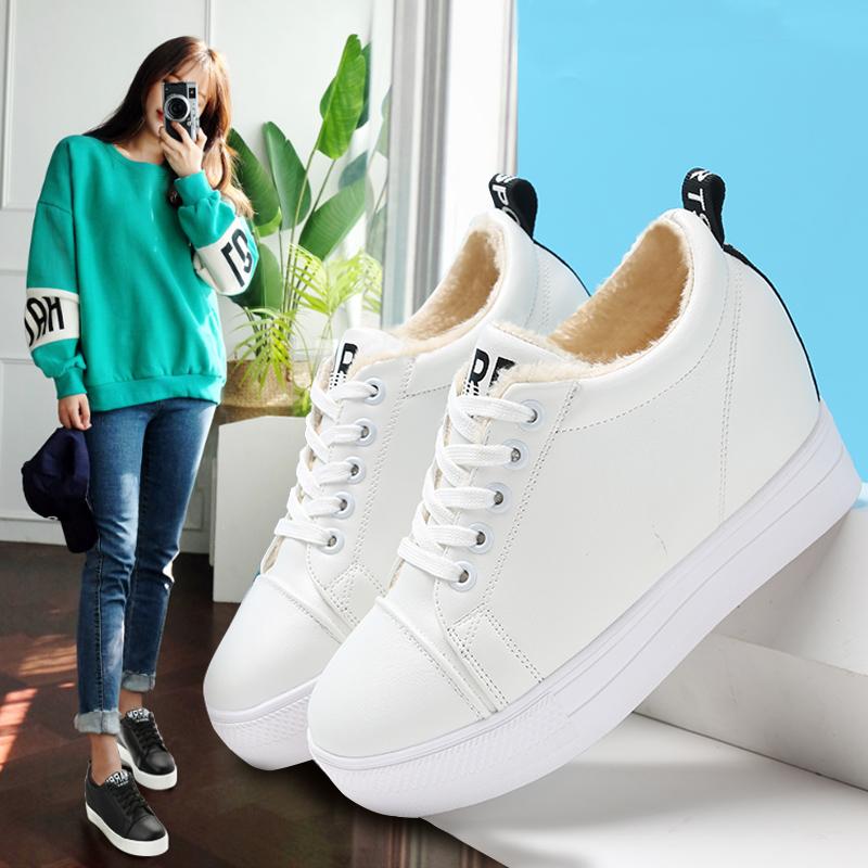 白色松糕鞋 白色休闲松糕鞋冬季加绒棉鞋韩版系带百搭平底厚底内增高学生女鞋_推荐淘宝好看的白色松糕鞋