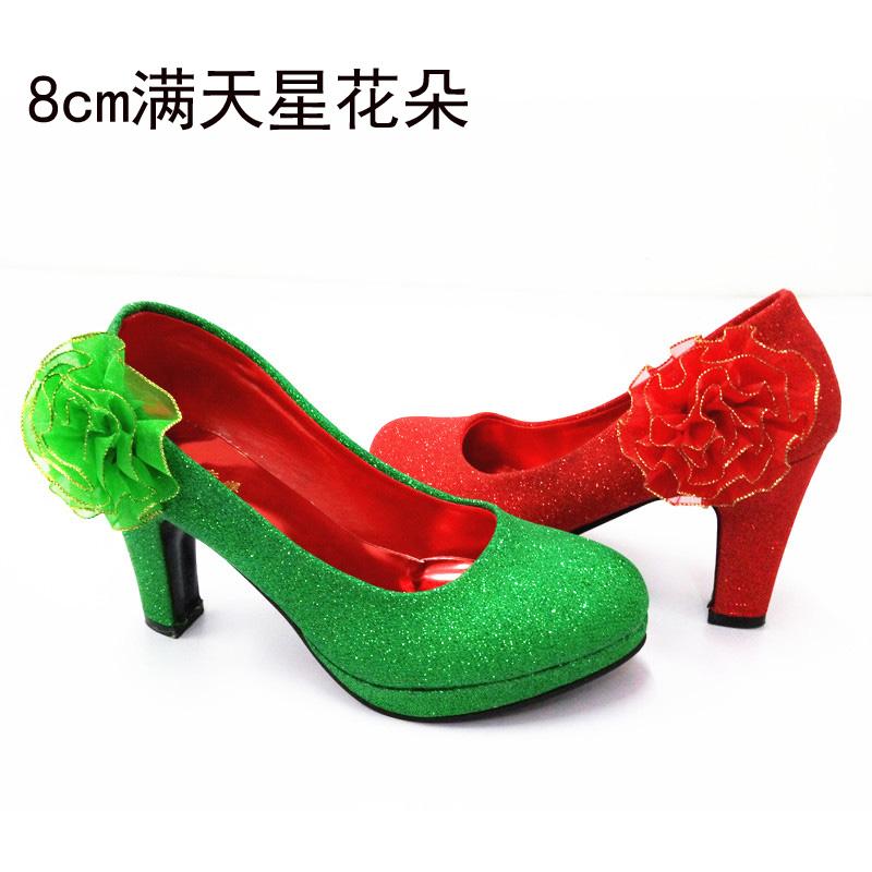 绿色厚底鞋 红色婚鞋女粗跟防水台厚底结婚鞋绿色婚鞋上轿鞋绿鞋敬酒鞋上车鞋_推荐淘宝好看的绿色厚底鞋
