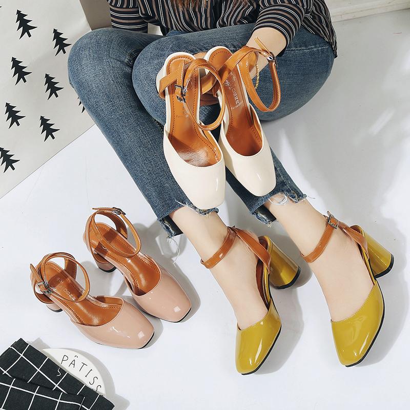粉红色罗马鞋 粗跟大码鞋子罗马鞋透明一字式凉靴凉鞋包头黄色韩版纯色粉红色PU_推荐淘宝好看的粉红色罗马鞋