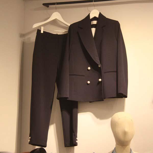 黑色小西装 2016秋冬新款韩国代购黑色小西装女阔腿裤气质西服套装两件套女装_推荐淘宝好看的黑色小西装