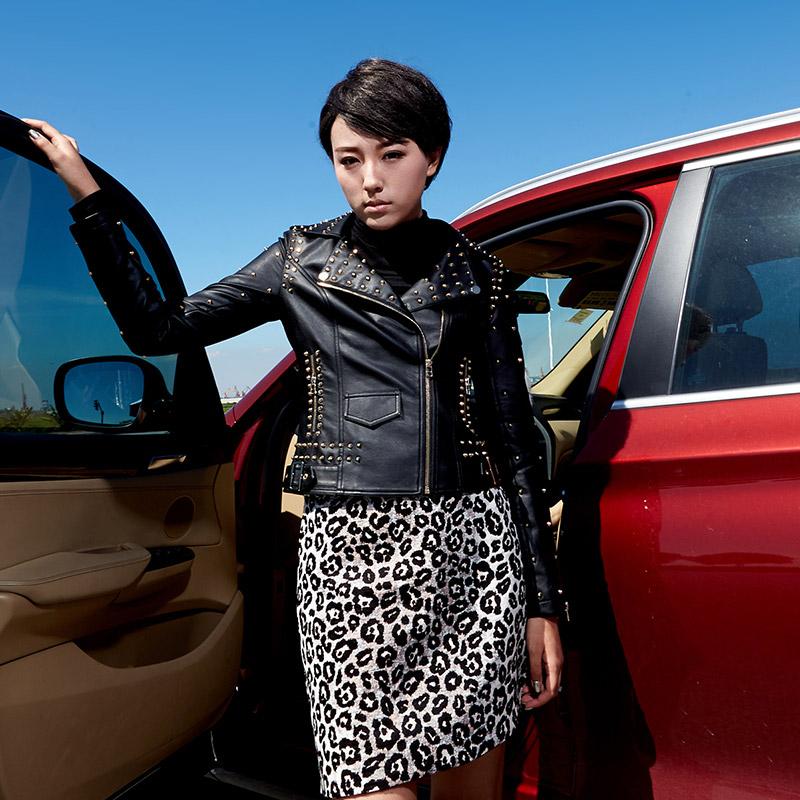 朋克皮衣 秋新款时尚朋克修身短款薄黑色铆钉显瘦pu皮夹克机车皮衣外套女士_推荐淘宝好看的朋克皮衣女