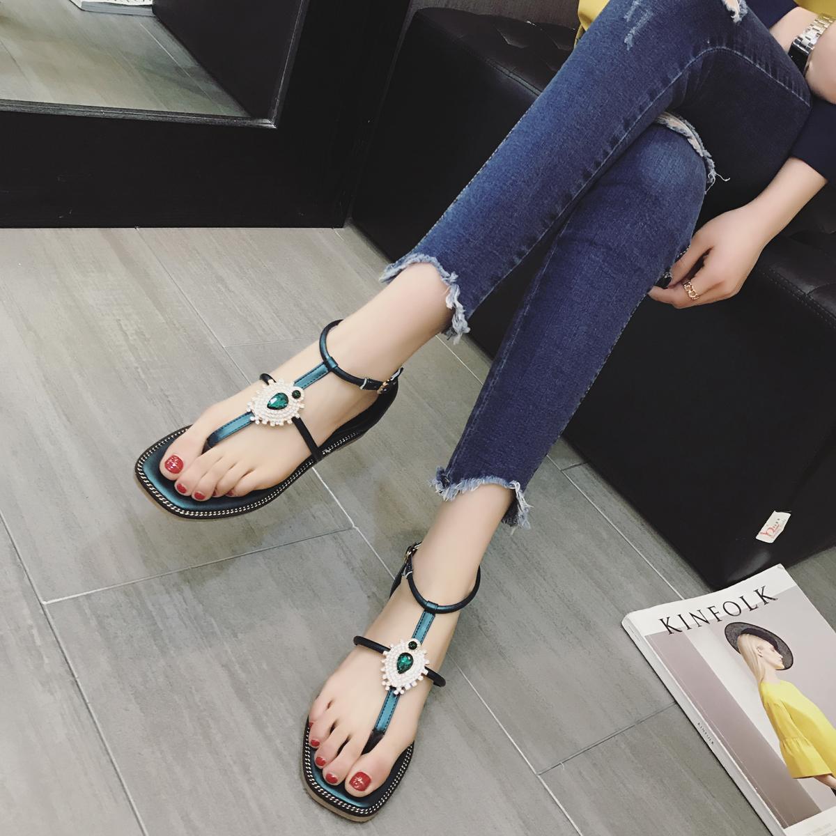 绿色罗马鞋 夏季夹趾平底罗马凉鞋夹脚水钻平底波西米亚风凉鞋绿色宝石沙滩鞋_推荐淘宝好看的绿色罗马鞋