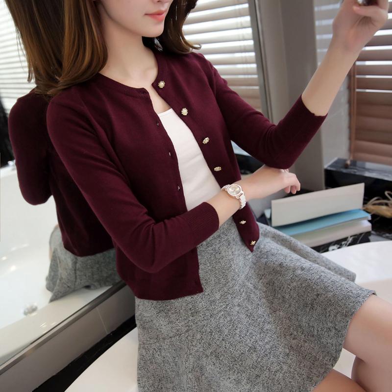 韩版针织衫 针织衫女开衫短款春秋季上衣韩版外搭披肩女士外穿新款薄毛衣外套_推荐淘宝好看的女韩版针织衫