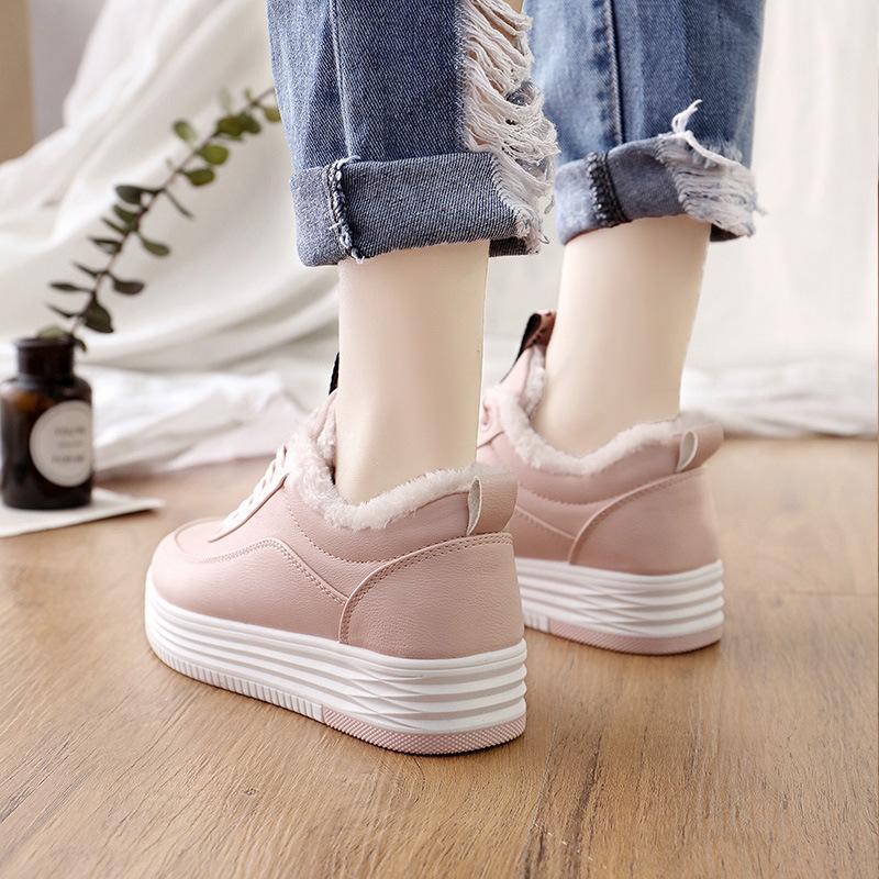 粉红色厚底鞋 冬季松糕跟加绒运动鞋女厚底2017新款粉红色板鞋学生百搭保暖棉鞋_推荐淘宝好看的粉红色厚底鞋