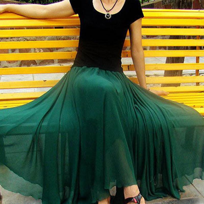 绿色雪纺半身裙 2017新款夏雪纺下半身裙纱裙长裙波西米亚a字裙大码女士百搭裙子_推荐淘宝好看的绿色雪纺半身裙