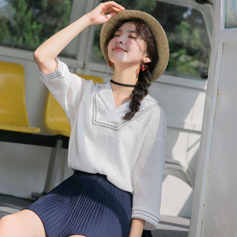 法式衬衫 V领上衣白色简约气质法式衬衣夏季韩版范宽松休闲百搭套头衬衫女_推荐淘宝好看的女法 衬衫