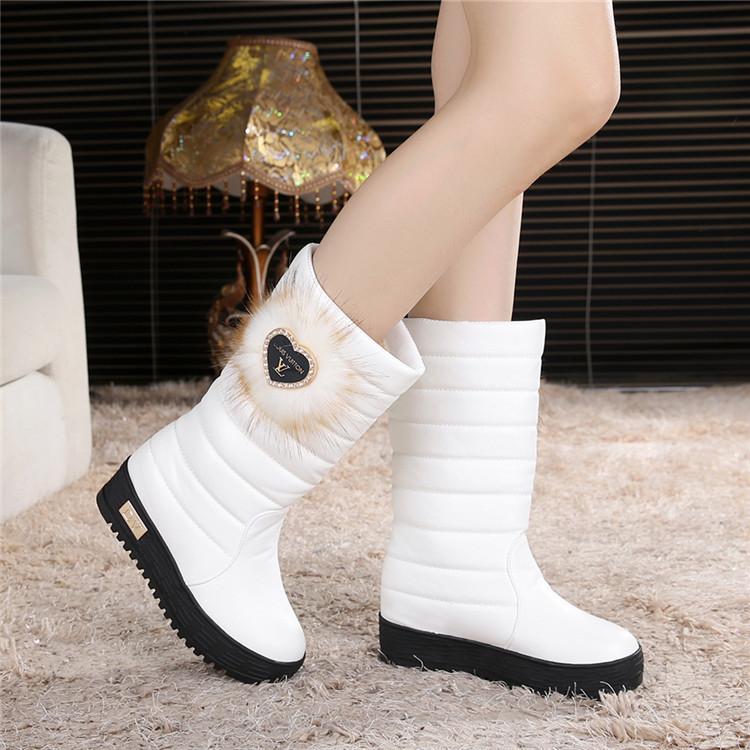 水钻坡跟鞋 冬季水钻棉靴防水台厚底中筒大童雪地靴加厚学生保暖女靴坡跟棉鞋_推荐淘宝好看的水钻坡跟鞋