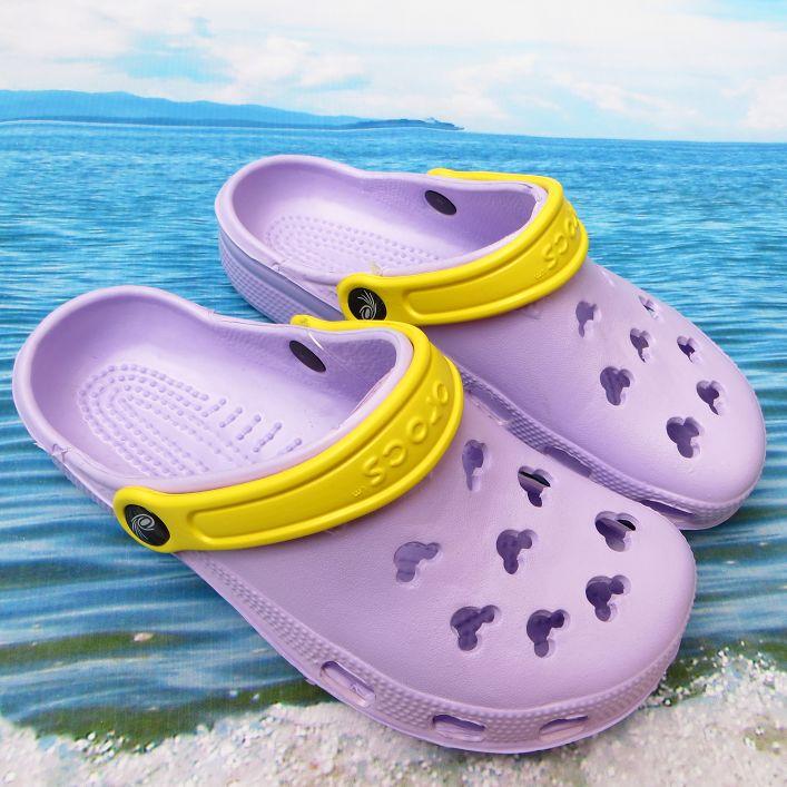 紫色凉鞋 清仓夏季凉鞋米奇休闲沙滩鞋女鞋洞洞鞋紫色凉鞋花园鞋女士洞洞鞋_推荐淘宝好看的紫色凉鞋