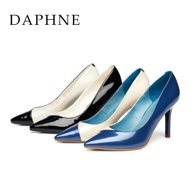 达芙妮尖头鞋 Daphne达芙妮春女鞋 细高跟尖头PU皮拼色浅口单鞋1015101069_推荐淘宝好看的达芙妮尖头鞋
