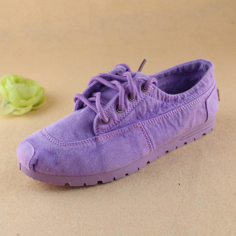 紫色平底鞋 16夏秋老北京布鞋情侣鞋系带休闲软底平底小白鞋紫色女单鞋帆布鞋_推荐淘宝好看的紫色平底鞋