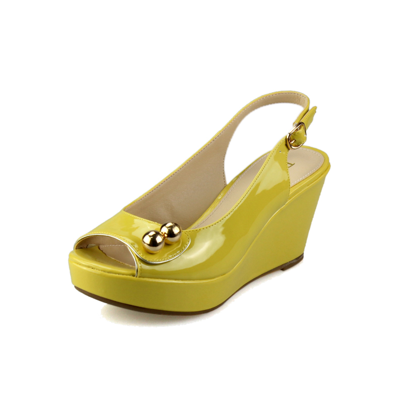 女士坡跟凉鞋 达芙妮专柜正品夏款金属色饰 舒适坡跟鱼嘴女凉鞋 1014303183_推荐淘宝好看的女 坡跟凉鞋