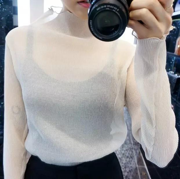 白色雪纺衫 【天天特价】2016春新款透视长袖雪纺衫女百搭半高领褶皱防晒罩衫_推荐淘宝好看的白色雪纺衫