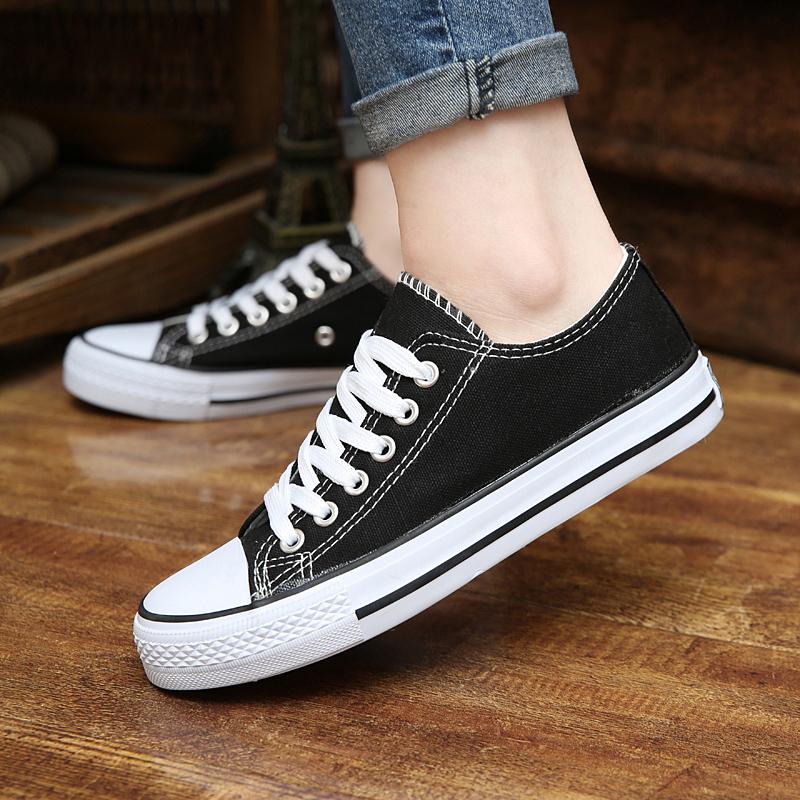 黑色帆布鞋 2016新款白黑色帆布鞋女春夏韩版经典低帮板鞋休闲鞋学生平底单鞋_推荐淘宝好看的黑色帆布鞋