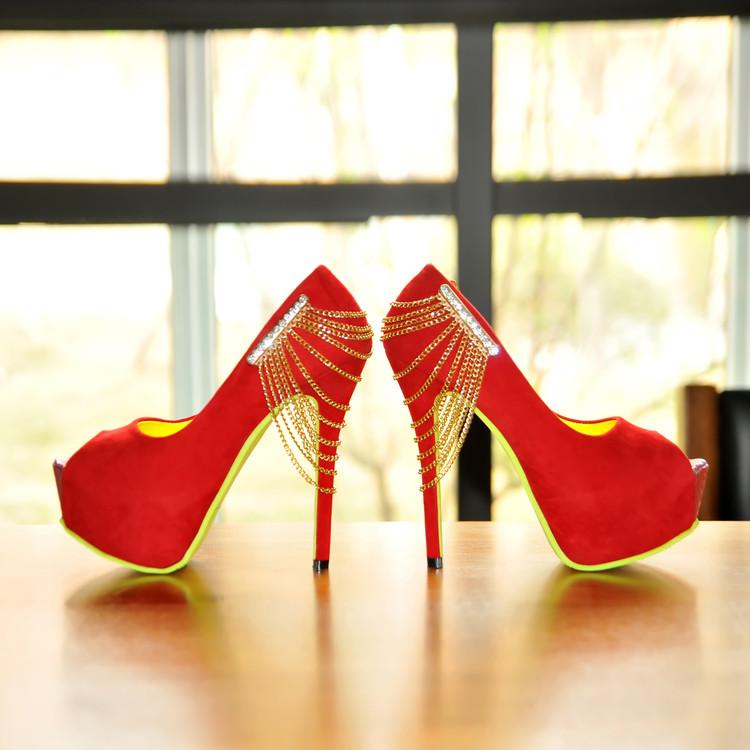鱼嘴性感高跟鞋 2016性感鱼嘴绒面细高跟女凉鞋金属链黑红色宴会夜店模特时装凉鞋_推荐淘宝好看的鱼嘴性感高跟鞋