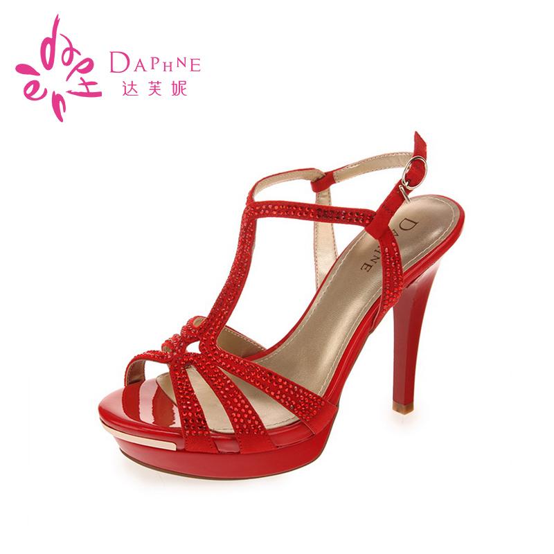 达芙妮高跟凉鞋 Daphne达芙妮正品夏新款水钻露趾凉鞋欧美性感红色超高跟凉鞋女_推荐淘宝好看的女达芙妮高跟凉鞋