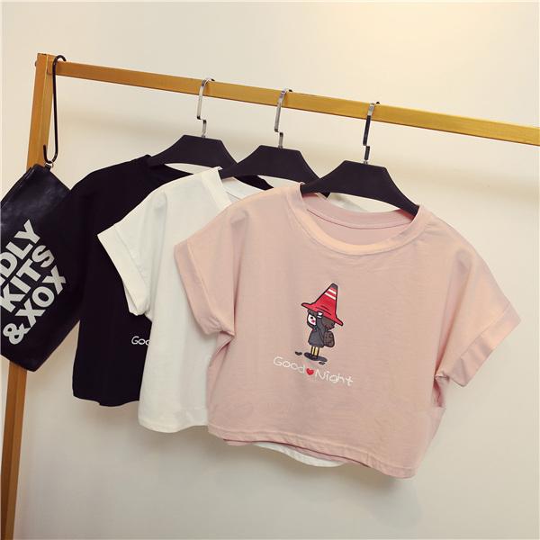 粉红色T恤 2017夏新款韩版宽松露脐半截短袖T恤女圆领高腰漏肚脐短款上衣 女_推荐淘宝好看的粉红色T恤