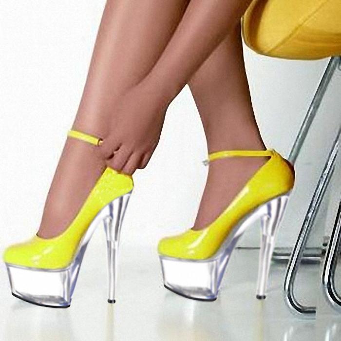 黄色单鞋 超高细跟黄色舞台演出单鞋 15厘米性感夜店公主鞋 拍照写真小码鞋_推荐淘宝好看的黄色单鞋