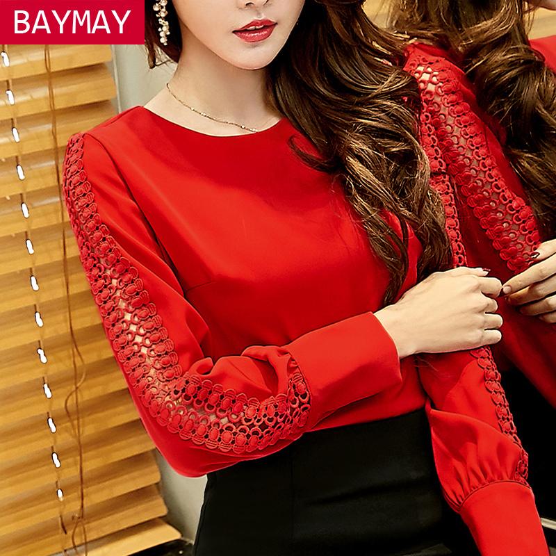 红色雪纺衫 BAYMAY雪纺打底衫女2017春季新款韩版女装圆领长袖镂空红色上衣潮_推荐淘宝好看的红色雪纺衫